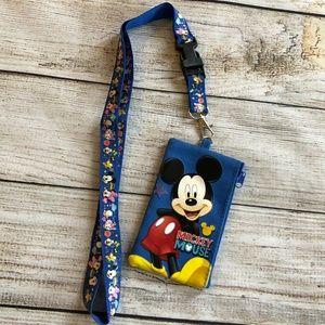 Disney Mickey Mouse ID Fastpass Holder Lanyard Blu